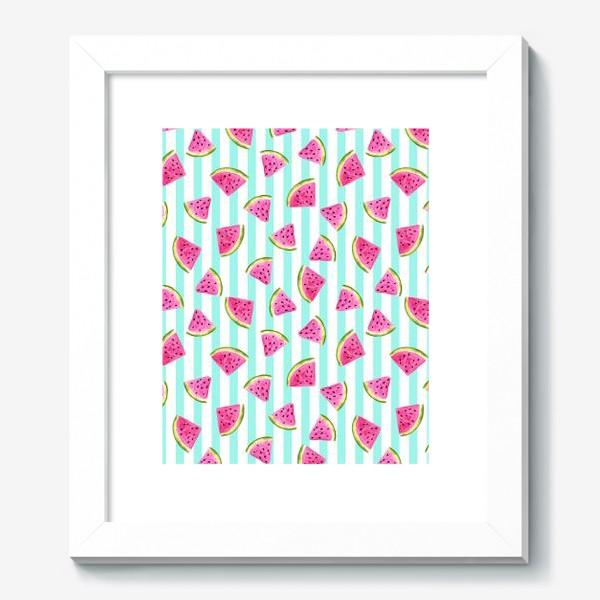 Картина «Сочные арбузные ломтики на полосатом фоне.»