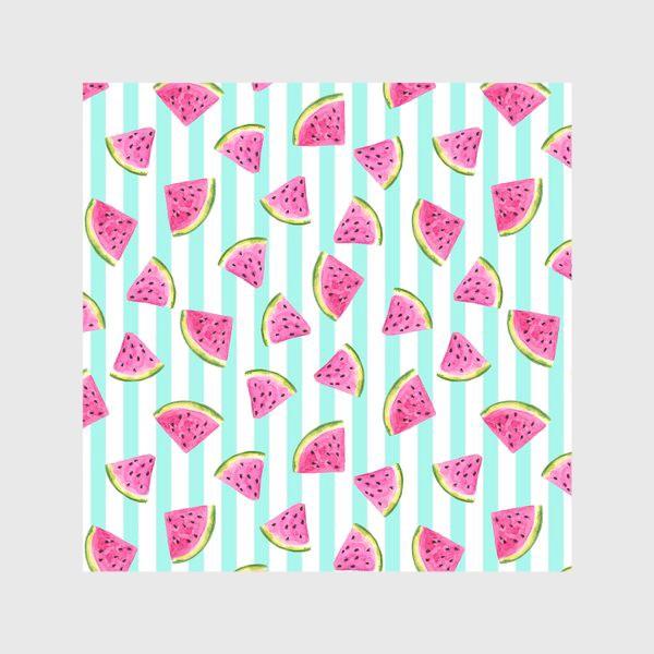 Скатерть «Сочные арбузные ломтики на полосатом фоне.»