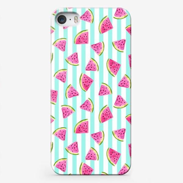 Чехол iPhone «Сочные арбузные ломтики на полосатом фоне.»