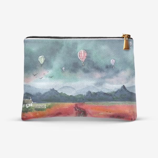 Косметичка «Акварельный пейзаж с воздушными шарами.»