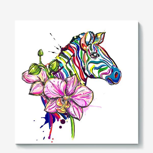 Холст «Разноцветная зебра и орхидея»