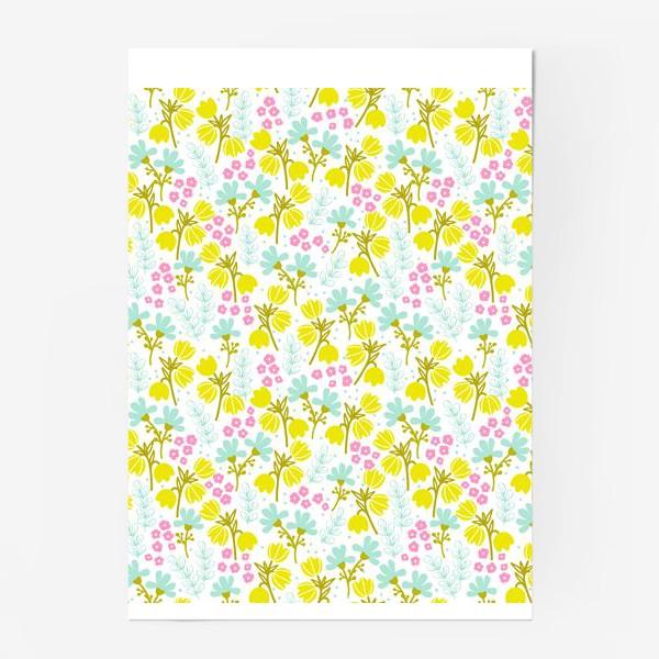 Постер «Желтые и розовые цветочки»