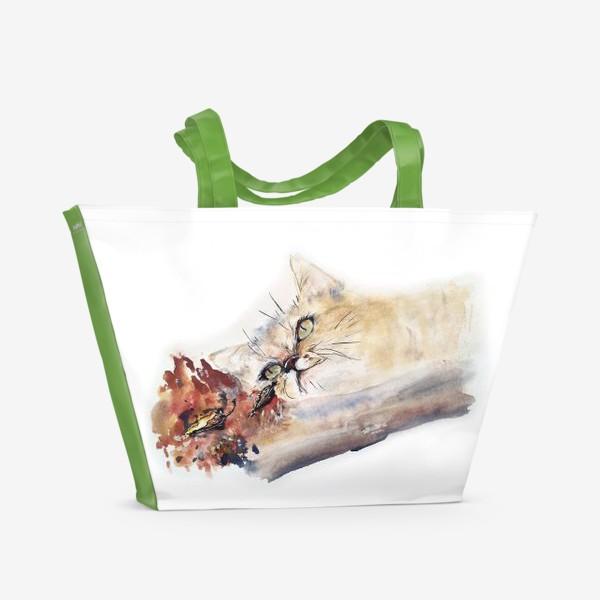 Пляжная сумка «Кот осенний»