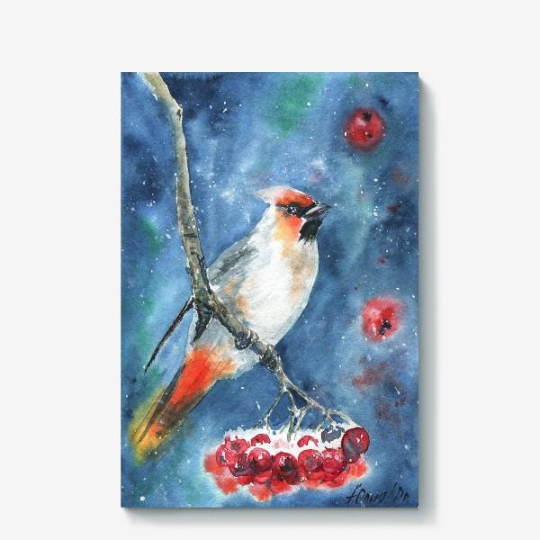 Холст «Птица и рябина»