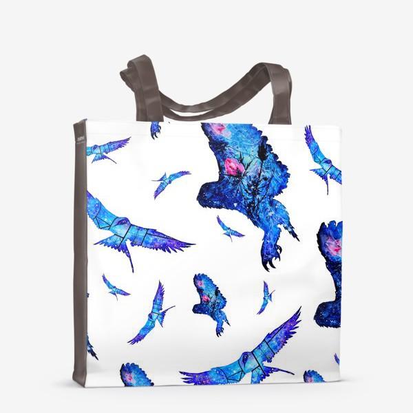 Сумка-шоппер «Акварельные птицы, совы и чайки »