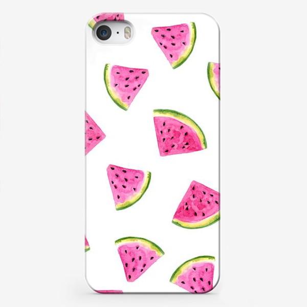 Чехол iPhone «Сочные акварельные арбузные дольки.»