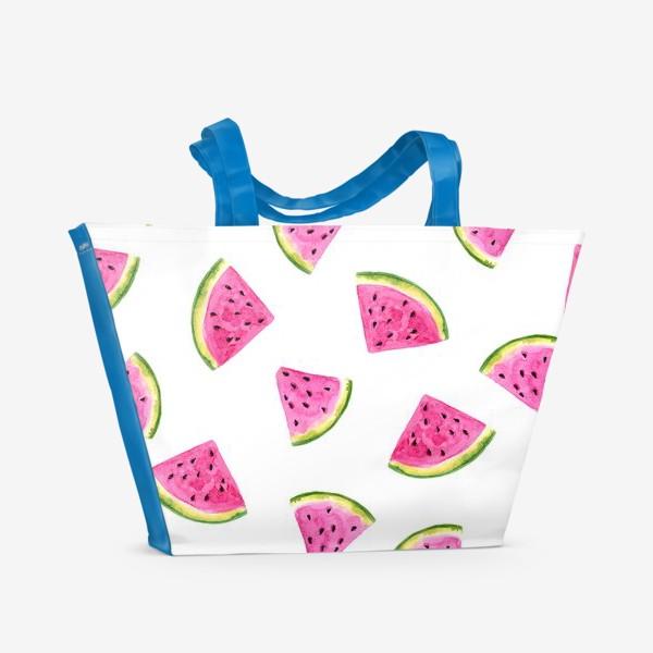 Пляжная сумка «Сочные акварельные арбузные дольки.»