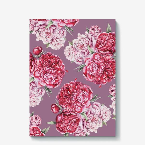 Холст «Яркие пионы на розовом фоне»