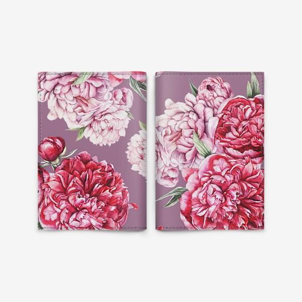 Обложка для паспорта «Яркие пионы на розовом фоне»