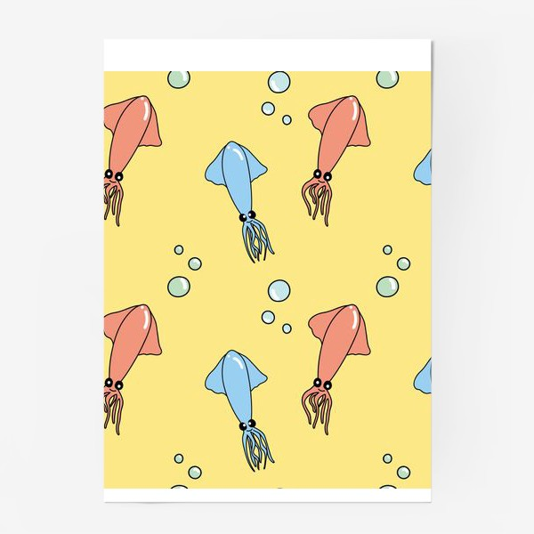 Постер «Морской паттерн с кальмарами»