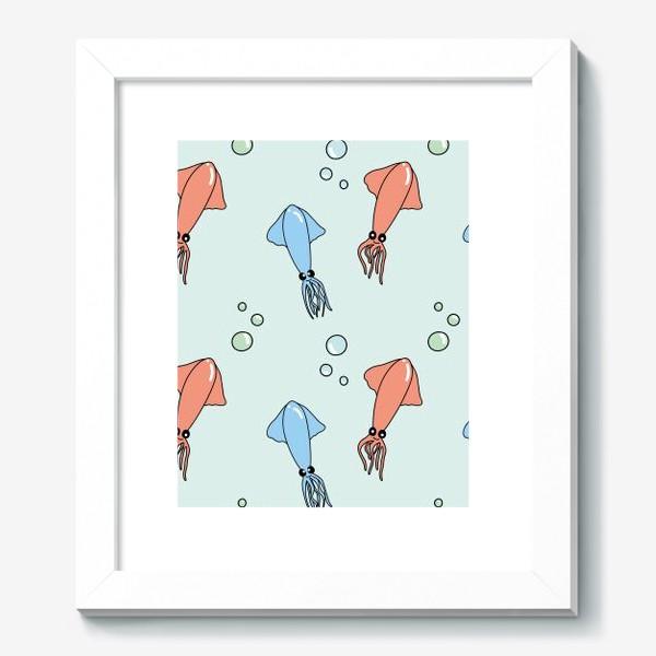 Картина «Паттерн с кальмарами из океана на голубом»