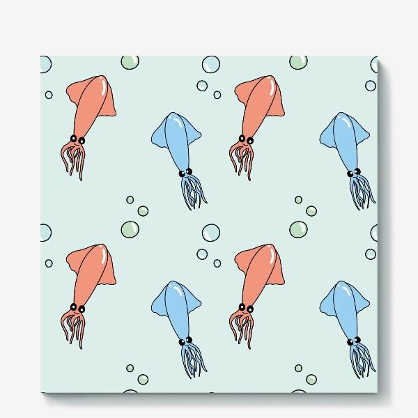Холст «Паттерн с кальмарами из океана на голубом»