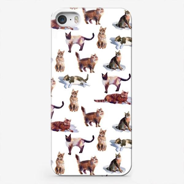Чехол iPhone «Акварельные кошки (белые)»