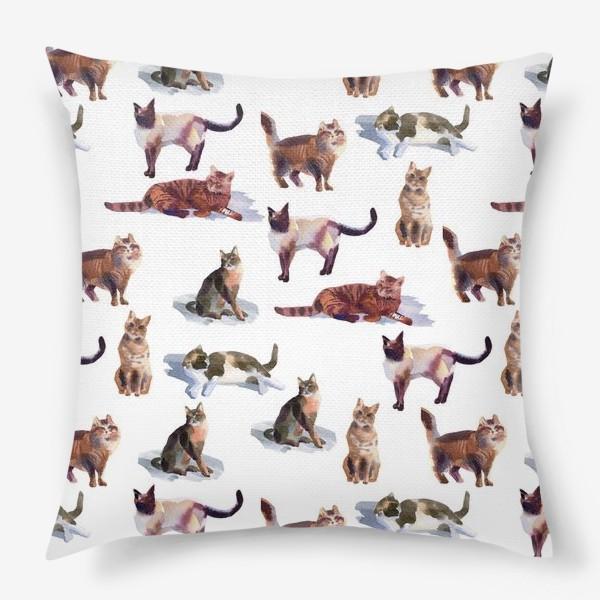 Подушка «Акварельные кошки (белые)»