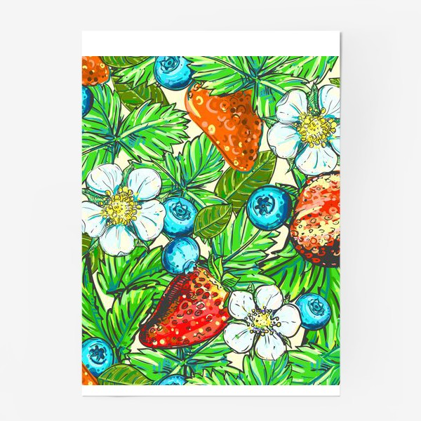 Постер «голубика, клубника, малина. паттерн»