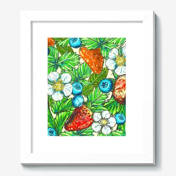 Картина «голубика, клубника, малина. паттерн»