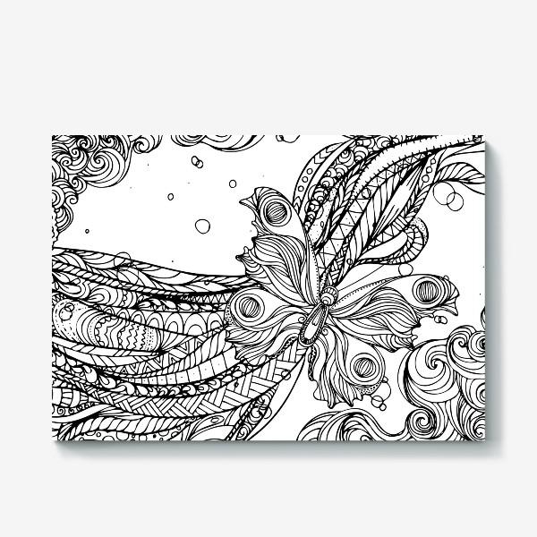 Холст «бабочка и волны»