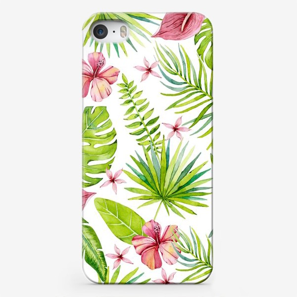 Чехол iPhone «Tropical leaves and flowers»