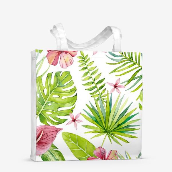 Сумка-шоппер «Tropical leaves and flowers»
