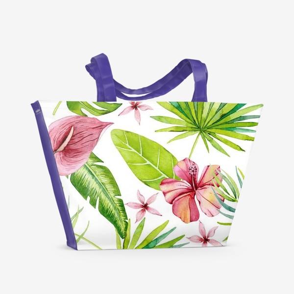 Пляжная сумка «Tropical leaves and flowers»