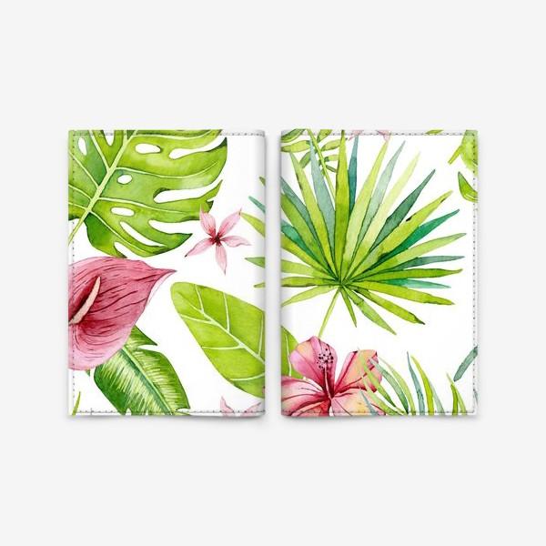 Обложка для паспорта «Tropical leaves and flowers»