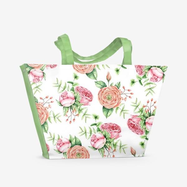Пляжная сумка «Watercolor spring bloom»