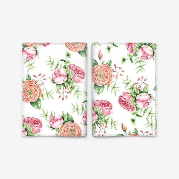 Обложка для паспорта «Watercolor spring bloom»