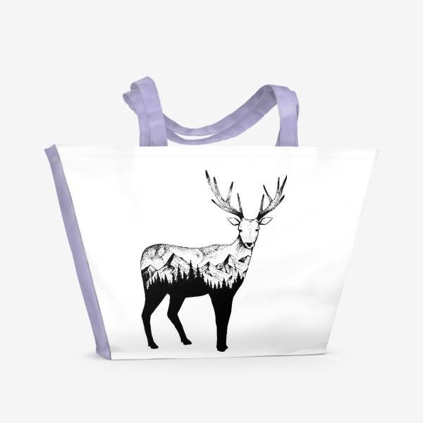 Пляжная сумка «Олень и горы»