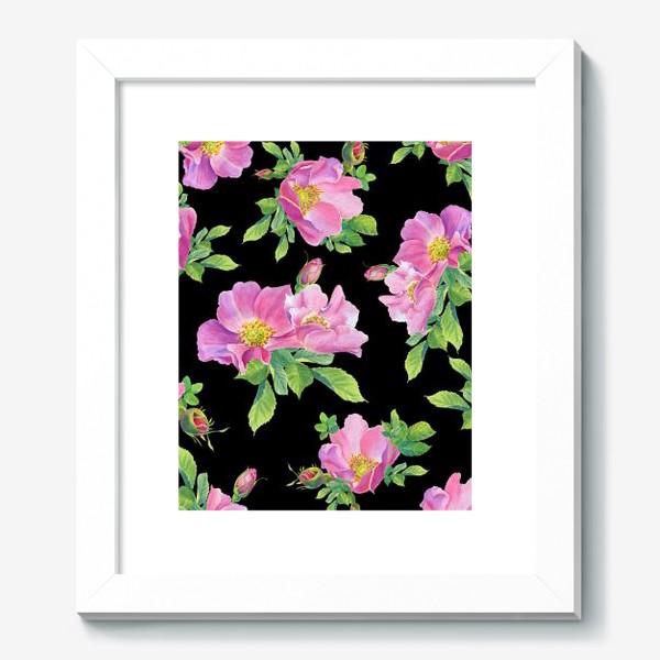 Картина «Цветы шиповника на черном.»