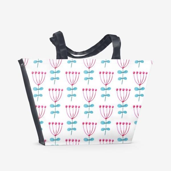 Пляжная сумка «Нежный  узор с розовыми цветами.»