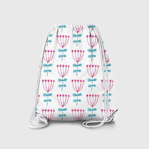 Рюкзак «Нежный  узор с розовыми цветами.»