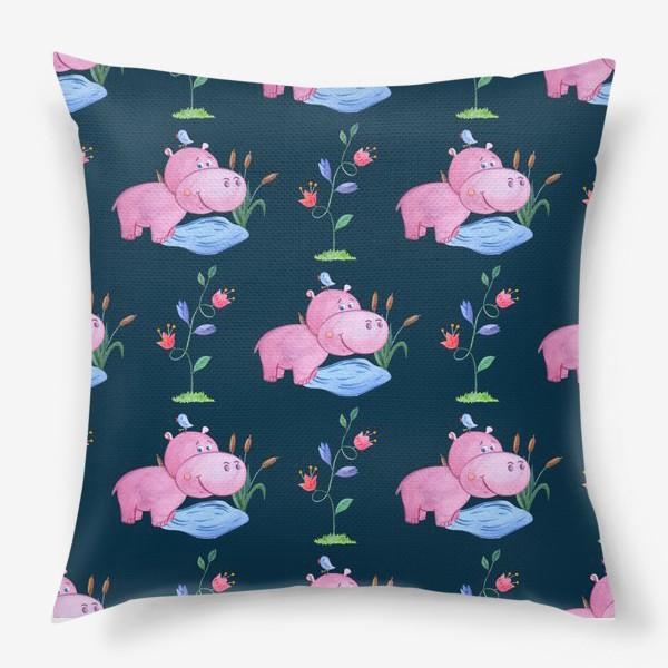 Подушка «Милые бегемотики с птичками и цветами.»