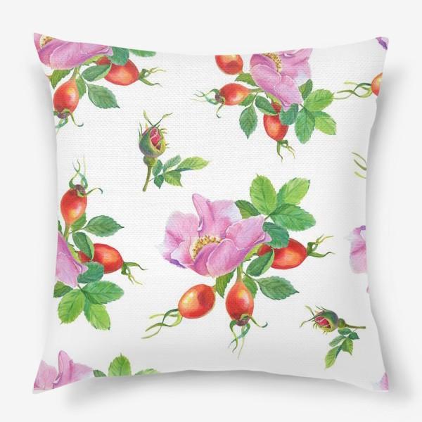 Подушка «Цветы и ягоды шиповника.Бесшовный узор.»
