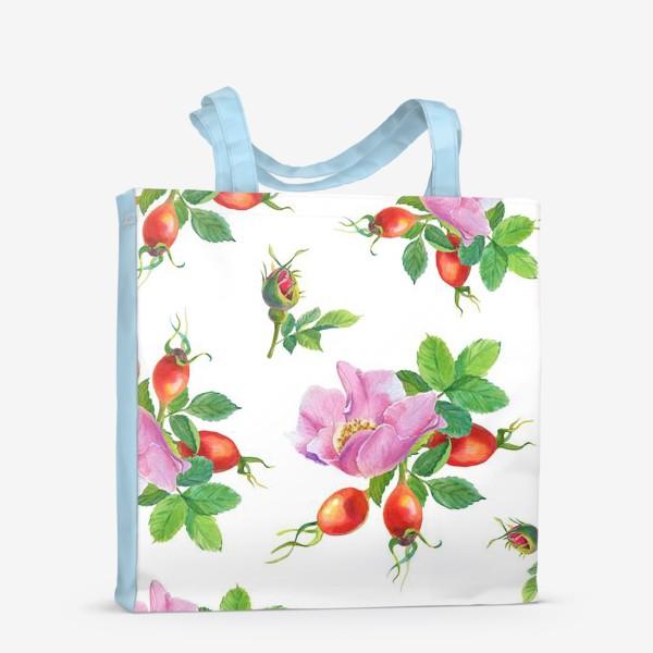 Сумка-шоппер «Цветы и ягоды шиповника.Бесшовный узор.»