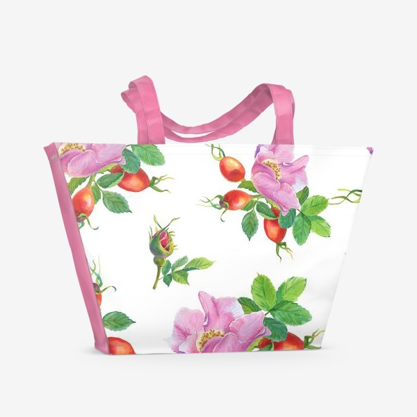 Пляжная сумка «Цветы и ягоды шиповника.Бесшовный узор.»