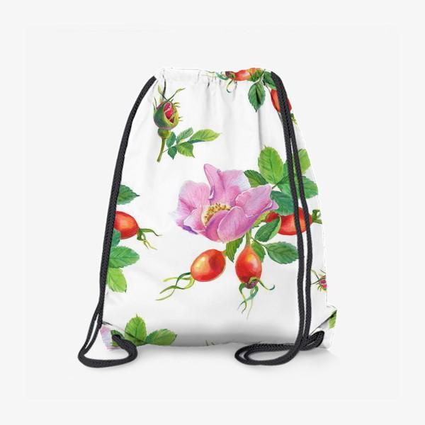Рюкзак «Цветы и ягоды шиповника.Бесшовный узор.»