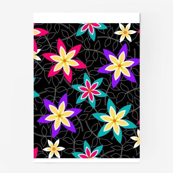Постер «Яркие цветы на черном фоне.»