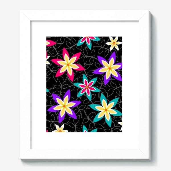 Картина «Яркие цветы на черном фоне.»