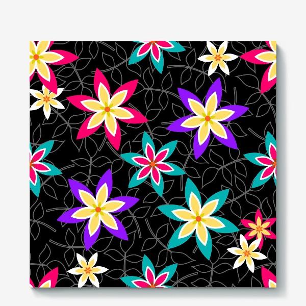 Холст «Яркие цветы на черном фоне.»