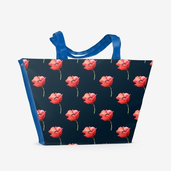 Пляжная сумка «Бесшовный узор с маками на черном фоне.»