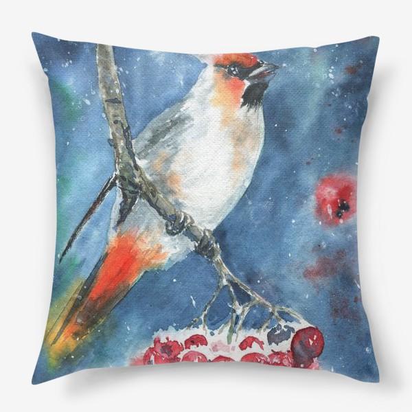 Подушка «Птица и рябина»