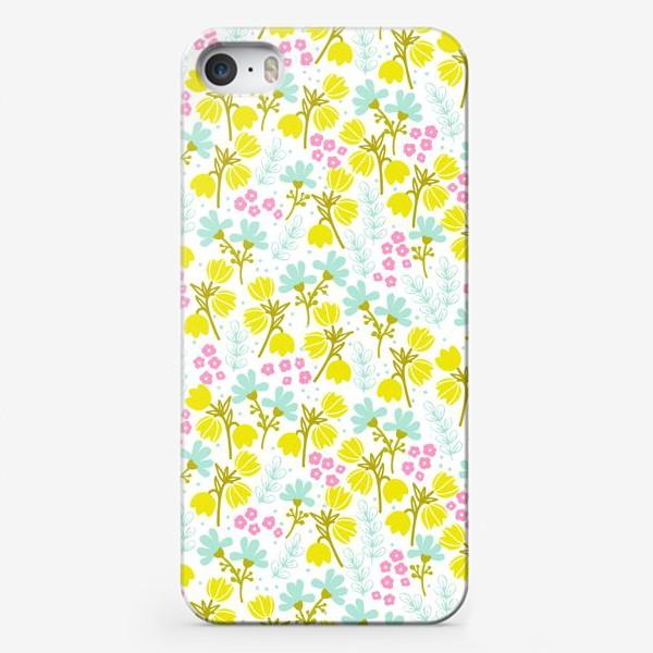 Чехол iPhone «Желтые и розовые цветочки»