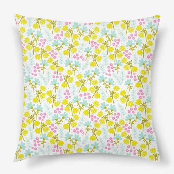 Подушка «Желтые и розовые цветочки»
