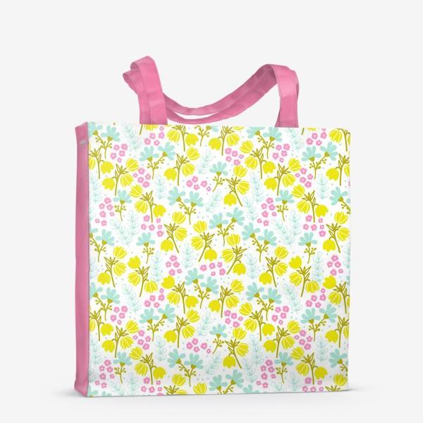 Сумка-шоппер «Желтые и розовые цветочки»