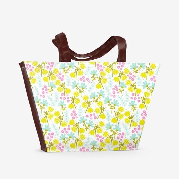 Пляжная сумка «Желтые и розовые цветочки»