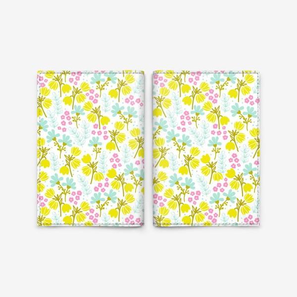 Обложка для паспорта «Желтые и розовые цветочки»