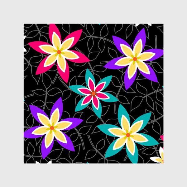 Шторы «Яркие цветы на черном фоне.»