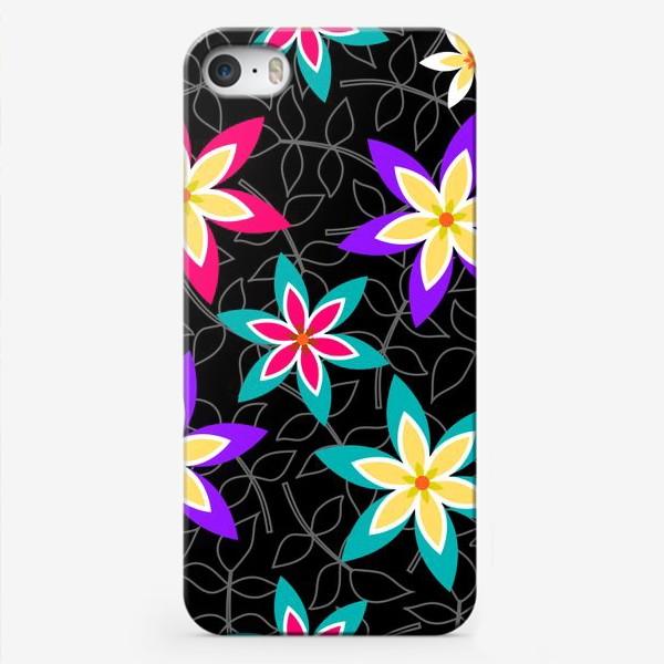 Чехол iPhone «Яркие цветы на черном фоне.»