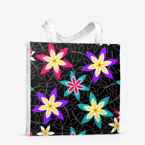 Сумка-шоппер «Яркие цветы на черном фоне.»