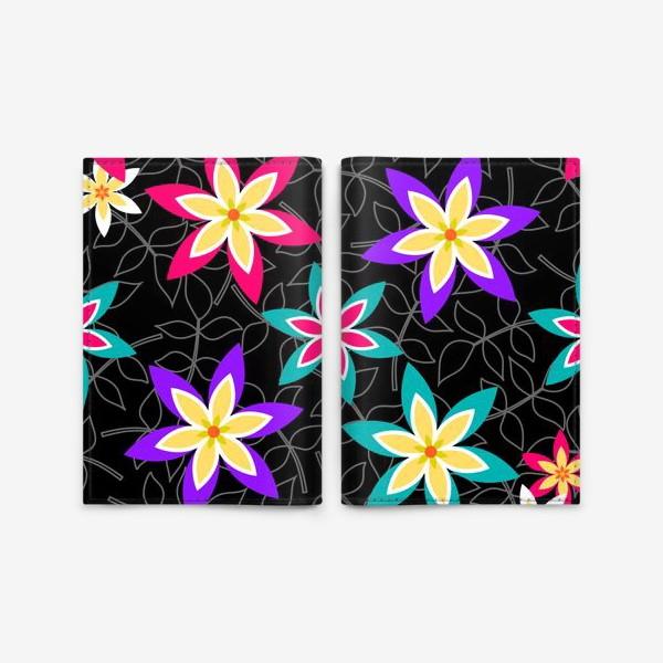 Обложка для паспорта «Яркие цветы на черном фоне.»